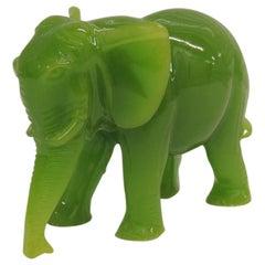 Glass Jade Color Elephant Decorative Figurine