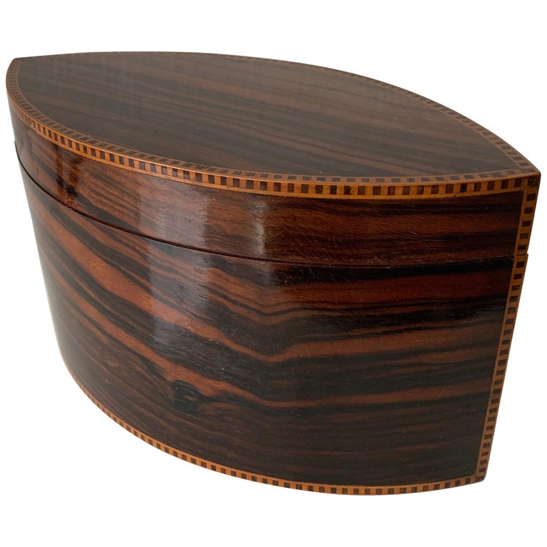 Handcrafted, Top Quality and Stunning Shape Art Deco Mahogany and Macassar Box For Sale