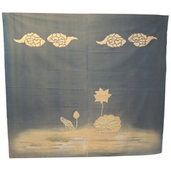 Large Vintage Japanese Printed Cotton Banner