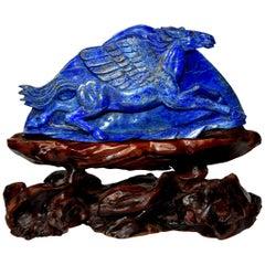 Lapis Lazuli Pegasus Statue, Horse Sculpture