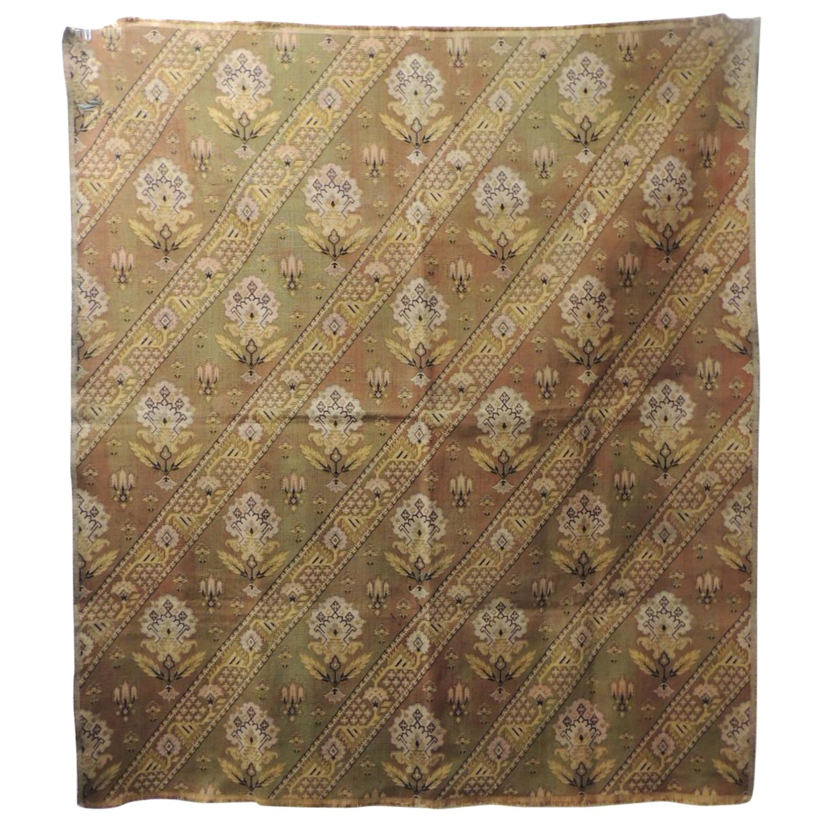 Vintage Turkish Woven Floral Tapestry Panel