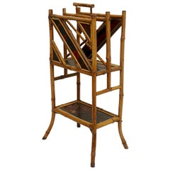 Bamboo Magazine Rack with Lacquer Panels, 19th Century