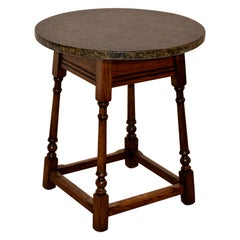 Edwardian Oak Side Table with Marble Top