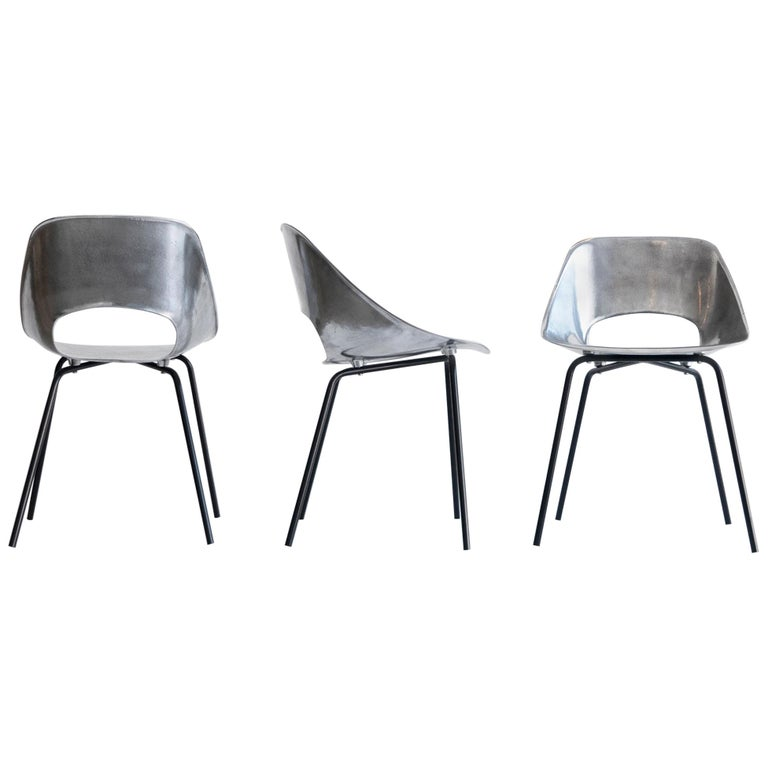 "Pierre Guariche, Set of Three ""Tonneau"" Cast Aluminum Chairs, circa 1950-1959 For Sale"
