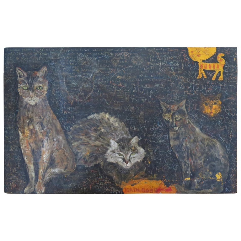Terry Turrell Painting of Cats a Certain Uncertainty For Sale