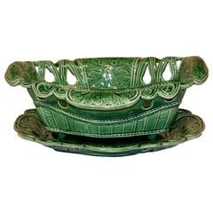 19th Century Majolica Bowl and Under Tray