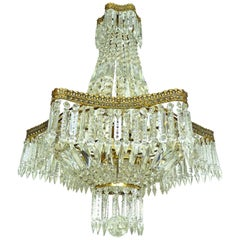 Hollywood Regency Louis XVI French Empire Cut Crystal Basket & Bronze Chandelier