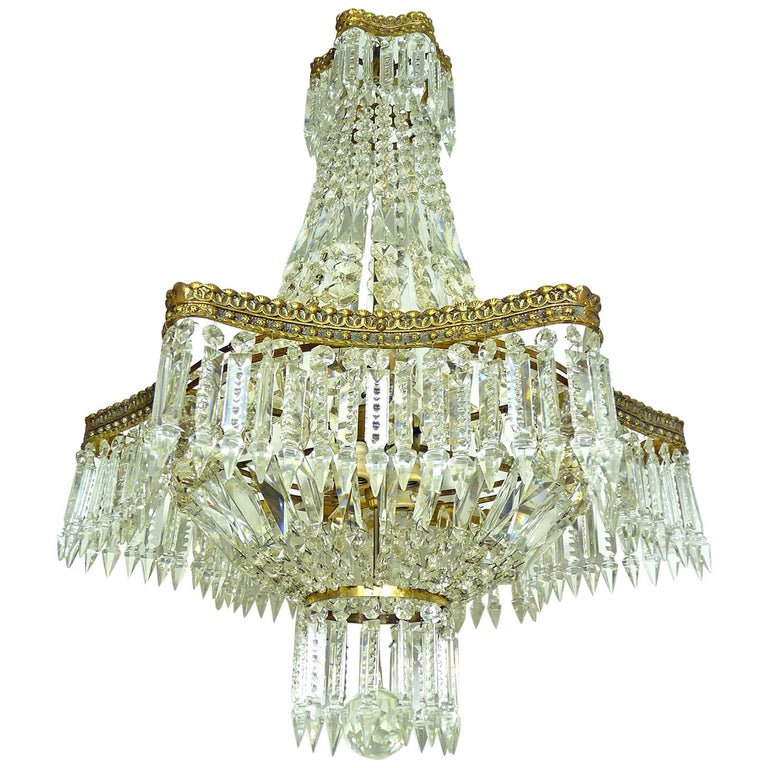 Hollywood Regency Louis XVI French Empire Cut Crystal Basket & Bronze Chandelier For Sale