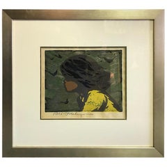 Tadashi Nakayama Signed Japanese Woodblock Print Girl in the Wind