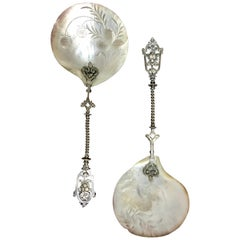 Pair of Mother of Pearl and Silver Strawberry Spoons