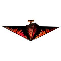 Star Form Flame Motif Slag Glass Chandelier