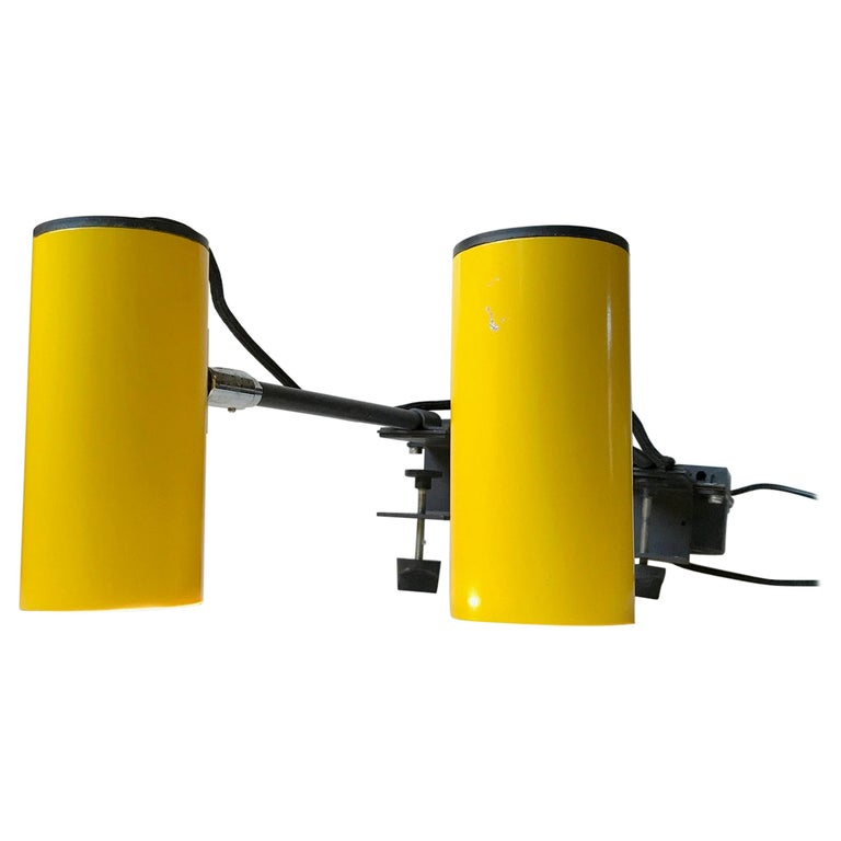 Industrial Yellow Clam Spotlights, Sconces From Lübcke
