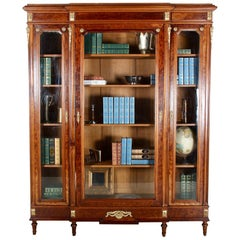 19th Century French Louis XVI Style Mahogany Bookcase Vitrine Cabinet