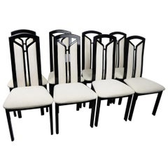 Set of Eight Italian Black Lacquer High Back Dining Chairs by Tonon