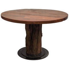 Rustic Round Table Recycled Bridge Wood with Tiered Steel Plate Base