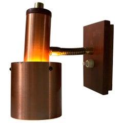 Danish Modern Copper, Brass and Teak Wall Light by E. S. Horn, 1960s