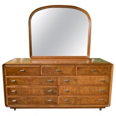 Art Deco Burl Wood Dresser and Mirror by American of Martinsville