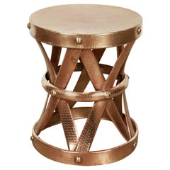 Midcentury Vintage Polished Brass Stool, 1950s