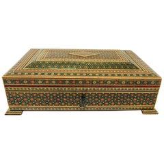 Large Anglo-Persian Jewelry Mosaic Khatam Inlaid Box