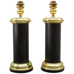 Pair Large Italian Table Lamps in Gold and Leather, Italy, 1960s