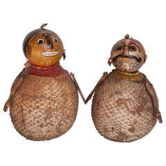Vintage Painted Gourd Couple, Folk Art from Lombok, Indonesia, Late 20th Century