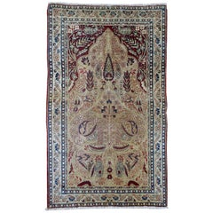 Handmade Antique Prayer Kerman Lavar Style Rug, 1880s, 1B524