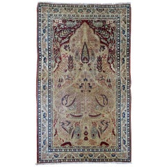 Handmade Antique prayer Kerman Lavar Style Rug, 1880s, 1B525