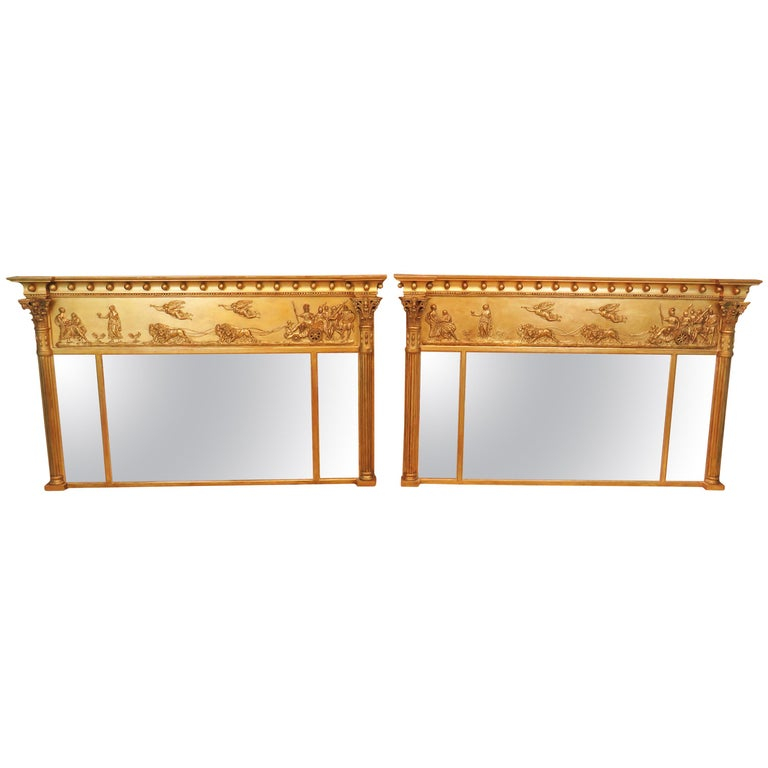 Regency Pair of Giltwood and Gesso English Overmantle Mirrors For Sale