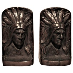 Pair of Vintage Sculptural Cast Bronze Native American Indian Chief Bookends