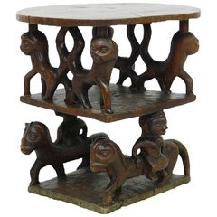 Vintage African Table Carved Wood with Animals, Early 20th Century
