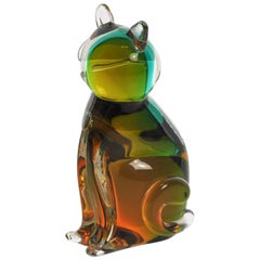 Amber and Green Cat in Murano Glass by V. Nason