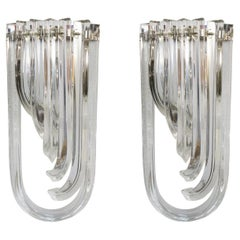 Carlo Nason Mid-Century Modern Crystal Pair of Murano Glass Wall Sconces, 1990