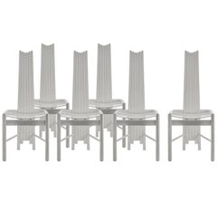 Set of 6 Impressive Sculptural Chairs with High Backrest
