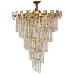 Oswald Haerdtl & Lobmeyr Crystal and Gilt Brass Chandelier, Austria, circa 1950s