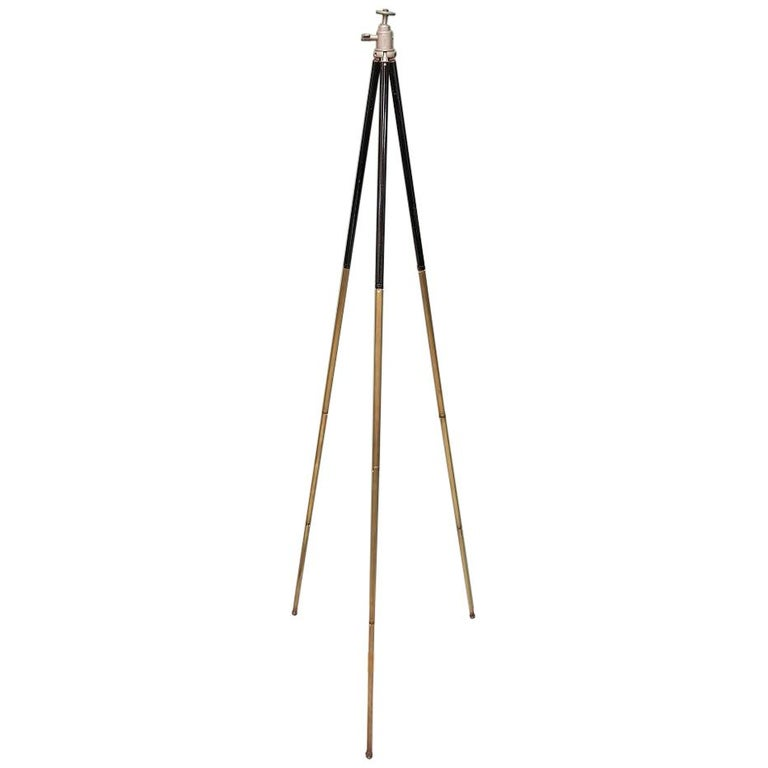 Early 20th Century French Brass Camera Tripod For Sale
