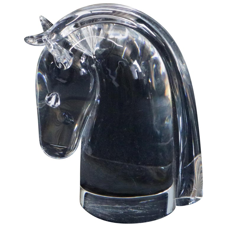 Steuben Figurative Crystal Sculpture Horse Head Paperweight by Dowler, Signed For Sale