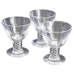Three Steuben Crystal Twist Stem Art Glass Aperitif Glasses, Signed