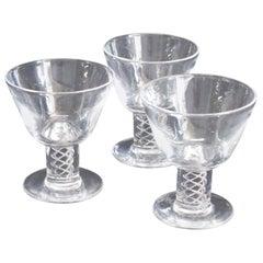 Three Steuben Crystal Twist Stem Art Glass Aperitif Glasses, Signed