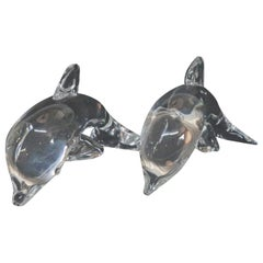 Pair of Steuben Crystal Sculpture Paperweights of Dolphins, Lloyd Atkins, Signed