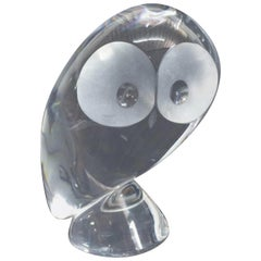Steuben Figurative Crystal Sculpture Owl Paperweight by Pollard, Signed