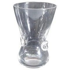 Steuben Signed Art Glass Modernist Pinched Dot Flared Signet Vase by David Hills