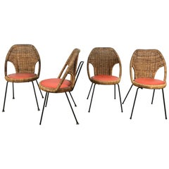 Danny Ho Fong, Wicker and Iron Dinette Chairs for Tropical