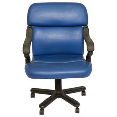 Mid-Century Modern Knoll Style Executive Office Chair in Blue