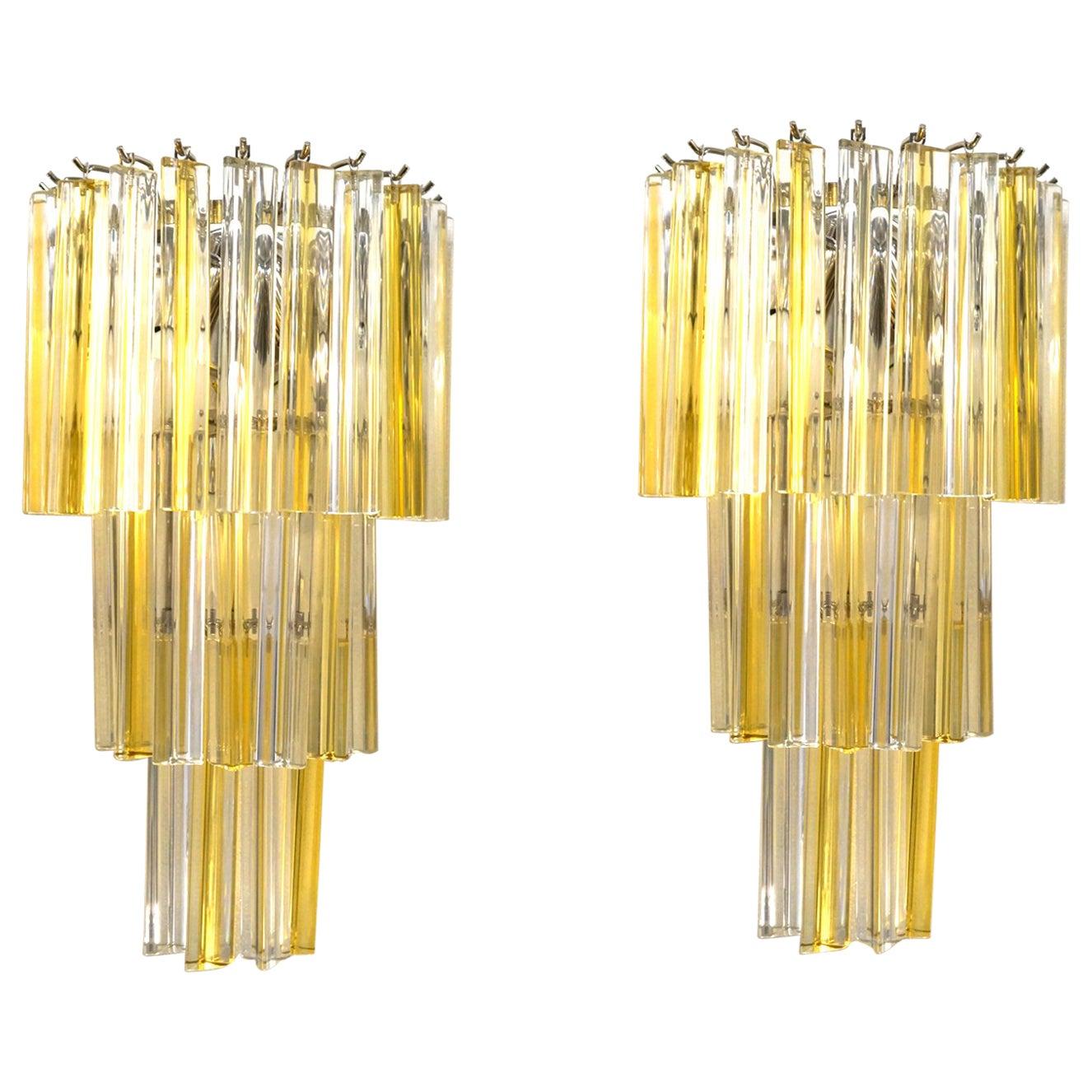 Venini Attributed Mid-Century Modern Pair of Murano Glass Triedri Wall Sconces
