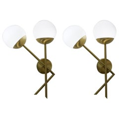 Attributed Stilnovo Mid-Century Modern White Pair of Murano Glass Wall Sconces