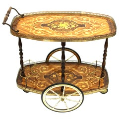 Mid-Century Modern Bar Cart with Floral Inlay