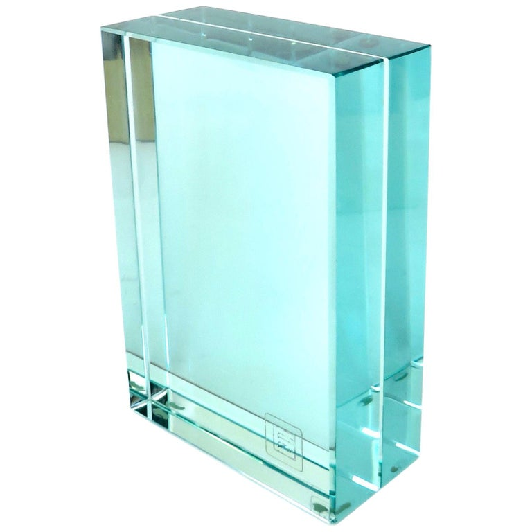 Fontana Arte Italian All Double Glass Picture Frame with Label For Sale