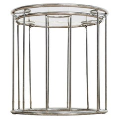 Midcentury Baughman Style Round Chrome and Glass Nesting Side Tables, Set of 2