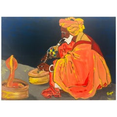 Painting of a Snake Charmer in India by Popo Flanigan