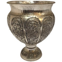 Anglo-Raj Style Silvered Footed Vase